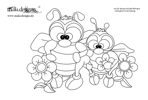 coloring page bees
