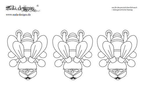 coloring page three flies