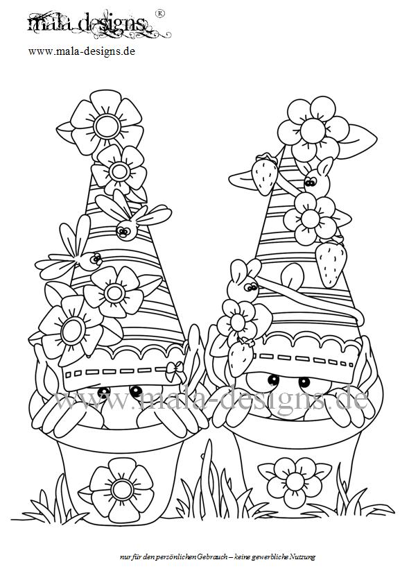 Coloring Page Garden Gnomes No 1