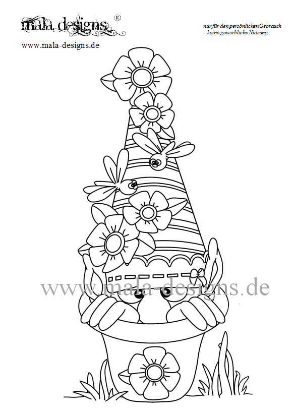 Coloring and Drawing: Christmas Gnome Coloring Pages