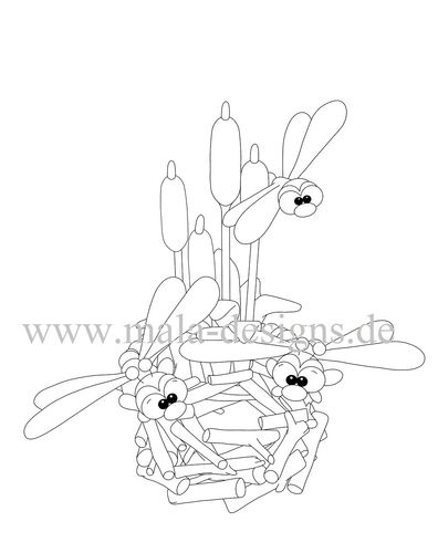coloring page dragonflies with cattails