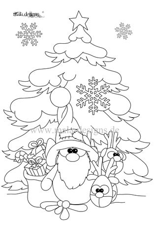 coloring page fir with elf