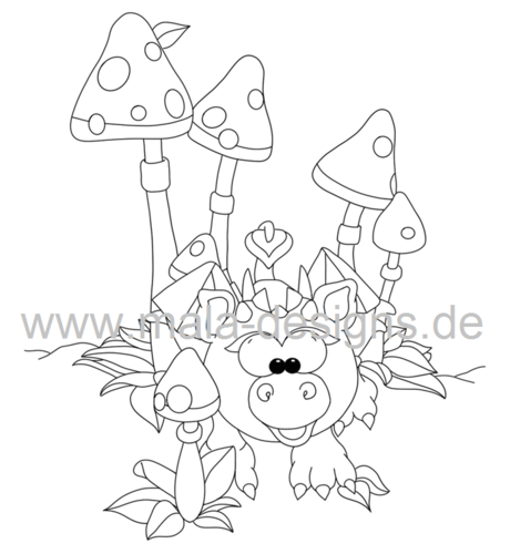 coloring page Lucky dragon kid