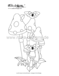 coloring page mushrooms with bats