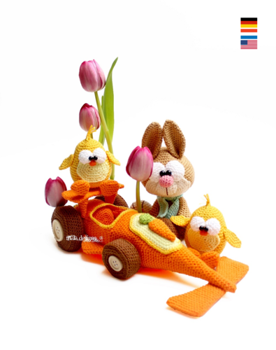 carrotcar with bunnies and chicken